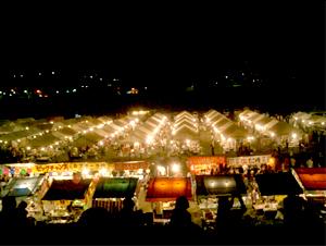 堤防からのカッパ祭りの眺め